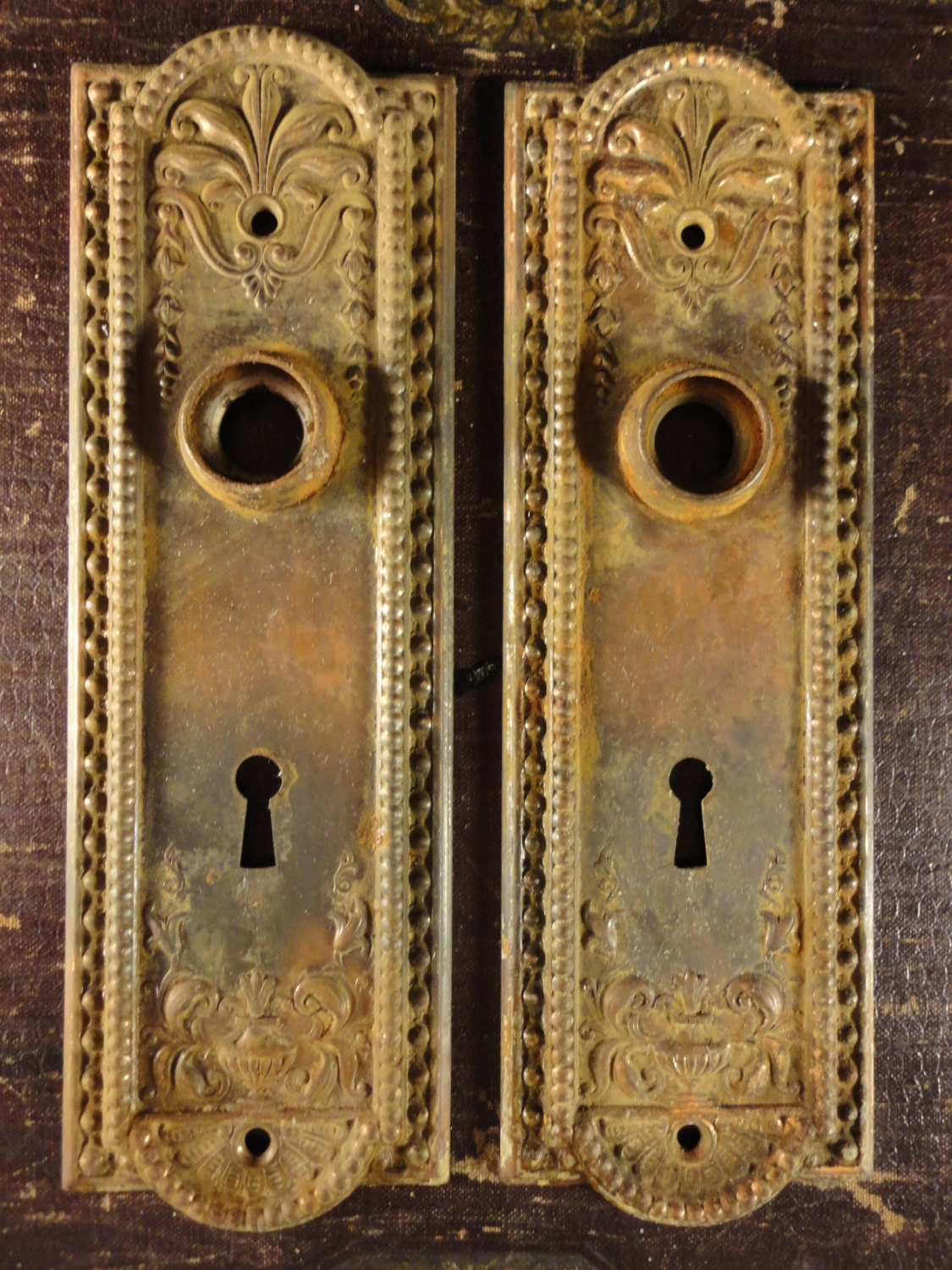 Ornate Antique Brass Door Knob Backplates