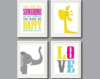 You Are My Sunshine-Set of Four Art Prints-11x14-Kids Room-Nursery-Home Decor-Pink-Yellow-Aqua-Grey-Giraffe-Elephant-Love-Modern Wall Art