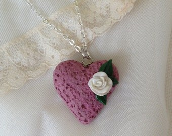 Faux Pink Pumice Heart Necklace With Rose