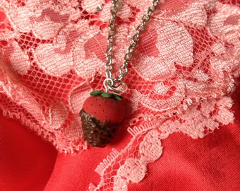 Sweet Little Chocolate Covered Strawberry Necklace