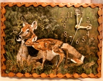 Doe and Fawn Clock