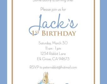 Peter Rabbit BIRTHDAY Invitation -  BOY - Personalized - PRINTABLE Digitlal File, 5x7