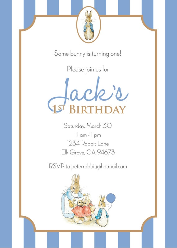 Peter rabbit birthday invitation boy personalized printable il570xn filmwisefo