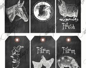 6 Printable Farmhouse Fresh Chalkboard Gift Tags- Sheep, Pig,Cow, Chickens, Horse, Etc. -Original Collage Sheet INSTANT DIGITAL DOWNLOAD