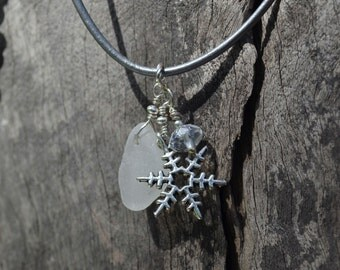 Snowflake Charm and Seaglass Necklace