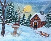 ACEO Art Cabin in deep winter trees moon night cabin snow Winter
