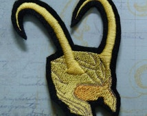 Loki Norse God Gold Horned Helmet Iron On Embroidery Patch MTCoffinz