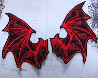 Red Demon Devil Wings Iron On Embroidery Patch MTCoffinz - Pair