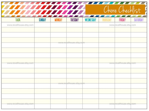 Chore Checklist Rainbow and Orange To Do List Task by RevellHouse