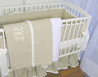 Linen  nursery bedding - full set  7 pcs with monogram