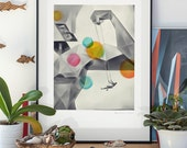 Father's Day. Illustration art giclée signed print on archival paper. A2 poster.