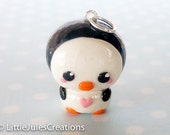 Kawaii penguin polymer clay charm