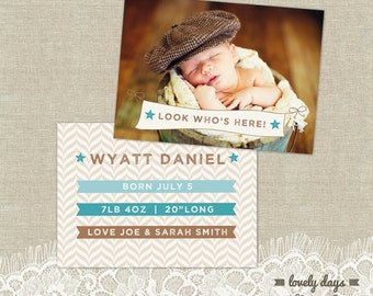 Birth Announcement BOY Template INSTANT DOWNLOAD