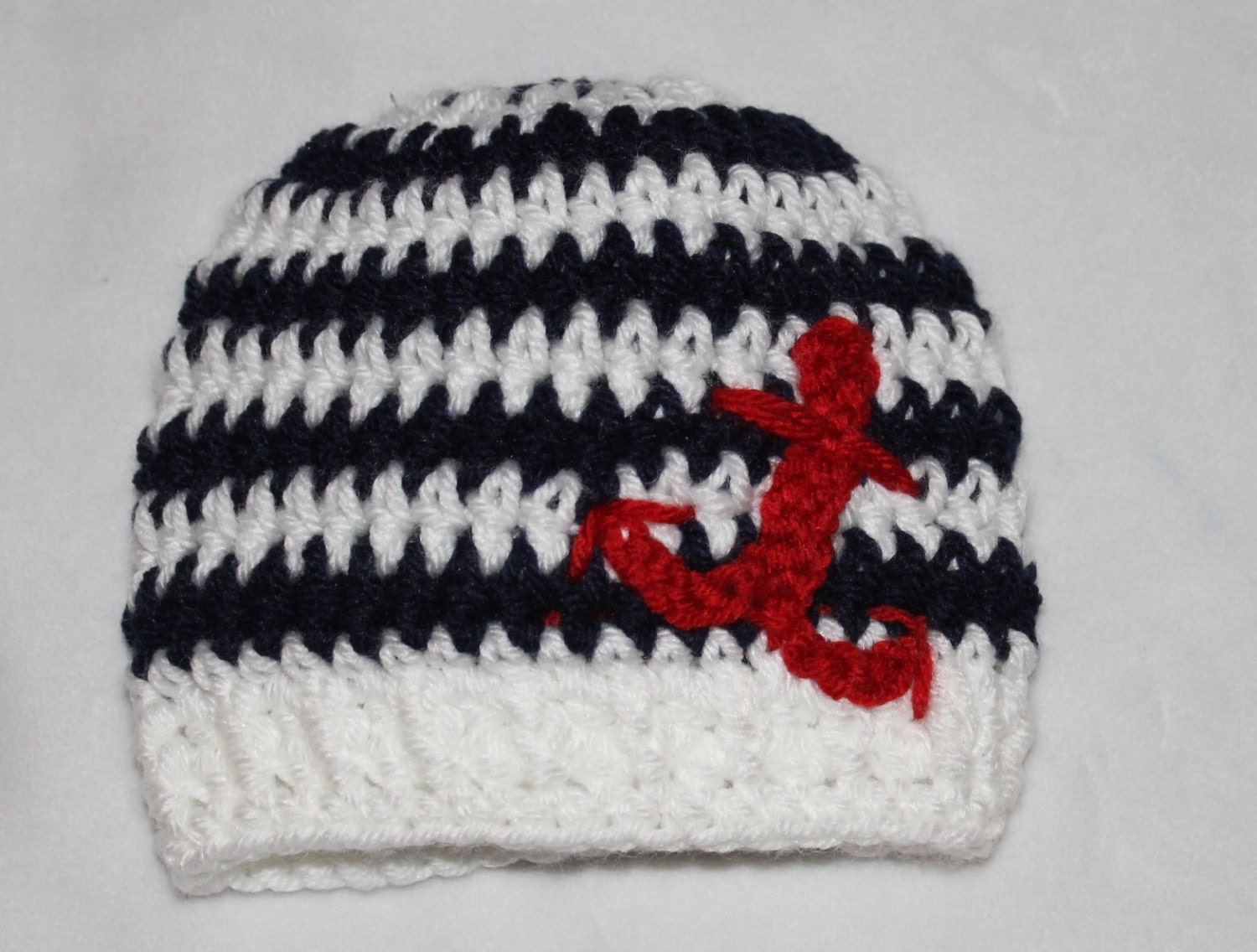 Crochet Beanie Pattern Striped : Navy and White Crochet Striped Beanie with Red Anchor. Newborn