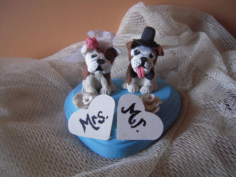 Custom Made Dog Wedding Cake Toppers Bride and Groom BullDogs