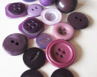 Collection of Purple Vintage Buttons