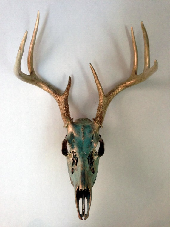Deer Skull and Antlers - Copper with Aqua Patina and Copper Shimmer
