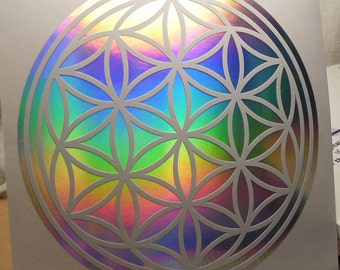 Seed Of Life Gold Leaf or Rainbow Silver