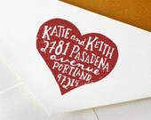 Custom Address Stamp: Handmade Heart Stamp - Great for Wedding, Snail Mail, and General Correspondence