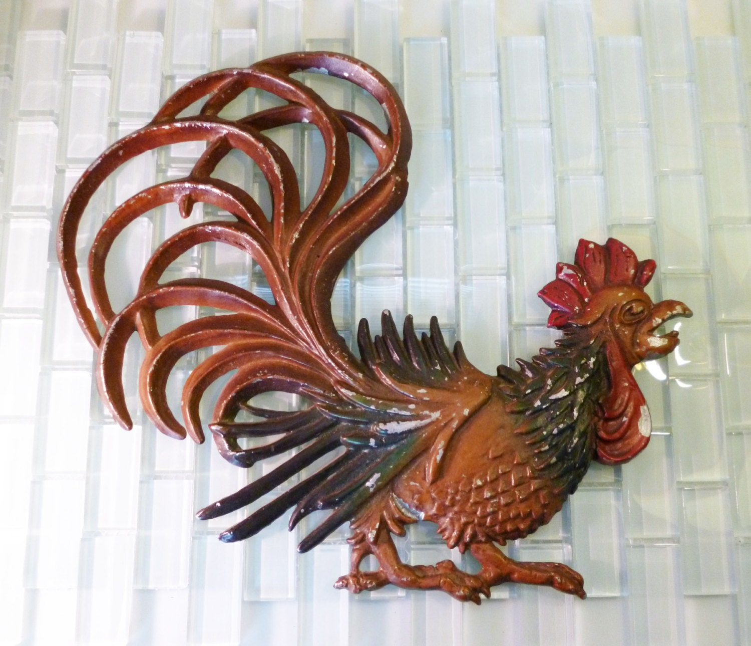 Vintage Midwest Metal Rooster Wall Hanging Farm Ranch Rustic