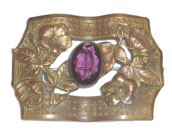 One-of-a-Kind Antique Gift: Gorgeous Brass and Amethyst  Art Nouveau Sash Pin or Brooch