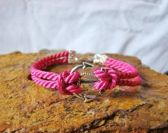 Hot Pink Nautical Anchor Bracelet