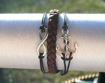 Nautical Anchor Infinity Brown Leather Bracelet