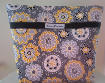 Large purse/diaper bag with gray and yellow fabric