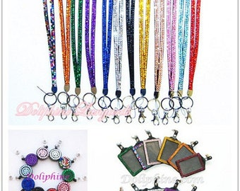 3 in 1 Set Rhinestone Bling LANYARD with Retractable Reel and Vertical ID Badge Holder