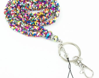 Rainbow Crystal Seed Beads Necklace LANYARD Keychain with Clasp for Key / ID / Cell Phone Holder
