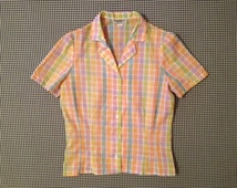 1980's, short sleeve, button up, collar shirt, in pastel plaid with textured thread detail
