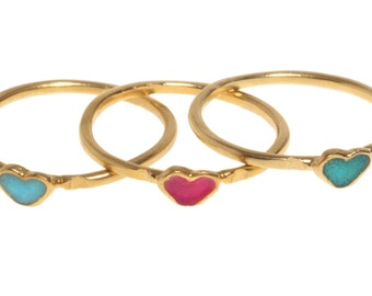 14K Gold plated stacking delicate heart ring inlay with colorful Enamel, 14K Gold Filled stacking delicate heart knuckle ring