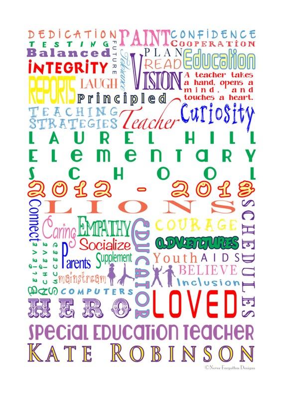 customized word art  school special education teacher  etsy