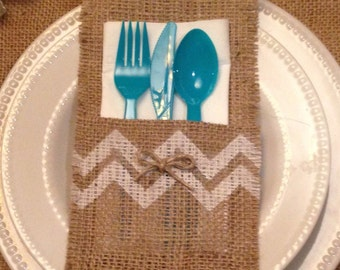 Burlap Silverware caddy holder - qty 4 Chevron decor Holiday decorating Home decor Wedding decor
