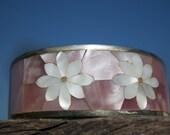 Vintage Child's Floral Cuff Bracelet Mother of Pearl Springtime Bracelet Made in Mexico
