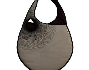 Guiloché - Oshka Bag, LIMITED EDITION - Illustrated purse, geometric digital print, brawn and black shoulder bag