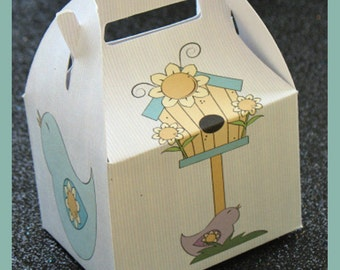 garden favor box, birds  birthday favor box, tea party favor box, birdhouse favor box