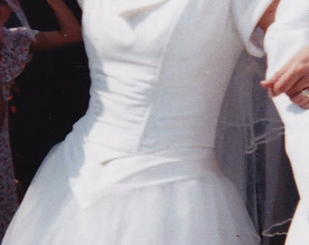 Wedding Dress - Raw Silk Top with French Tulle