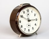 Retro Brown Alarm Clock by Insa, 70's Yugoslavia