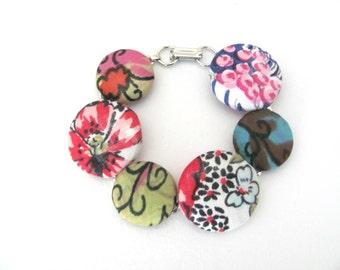 Handmade Fabric Button Bracelet, Upcycled Bracelet, Vintage Scarf Button Bracelet, Fabric Button Ring Set