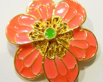 Pretty, Pink, Vintage Flower Brooch