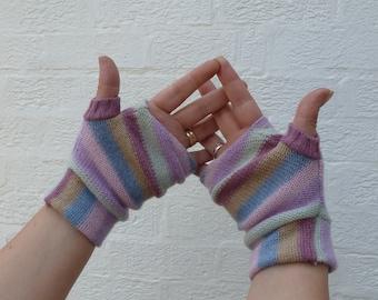 Ladies mittens girls wool gloves womens fingerless mittens eco handmade wool gloves girls winter mittens teens winter gloves ecofriendly.