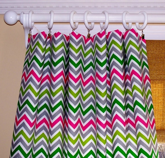Multi colored chevron curtains candy pink grey green lime premier
