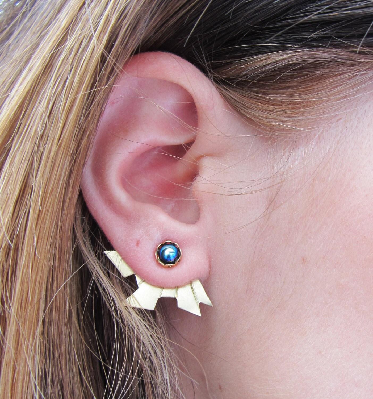 Single Reverse Art Deco Aztec Earring