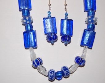 Blue and clear white necklace