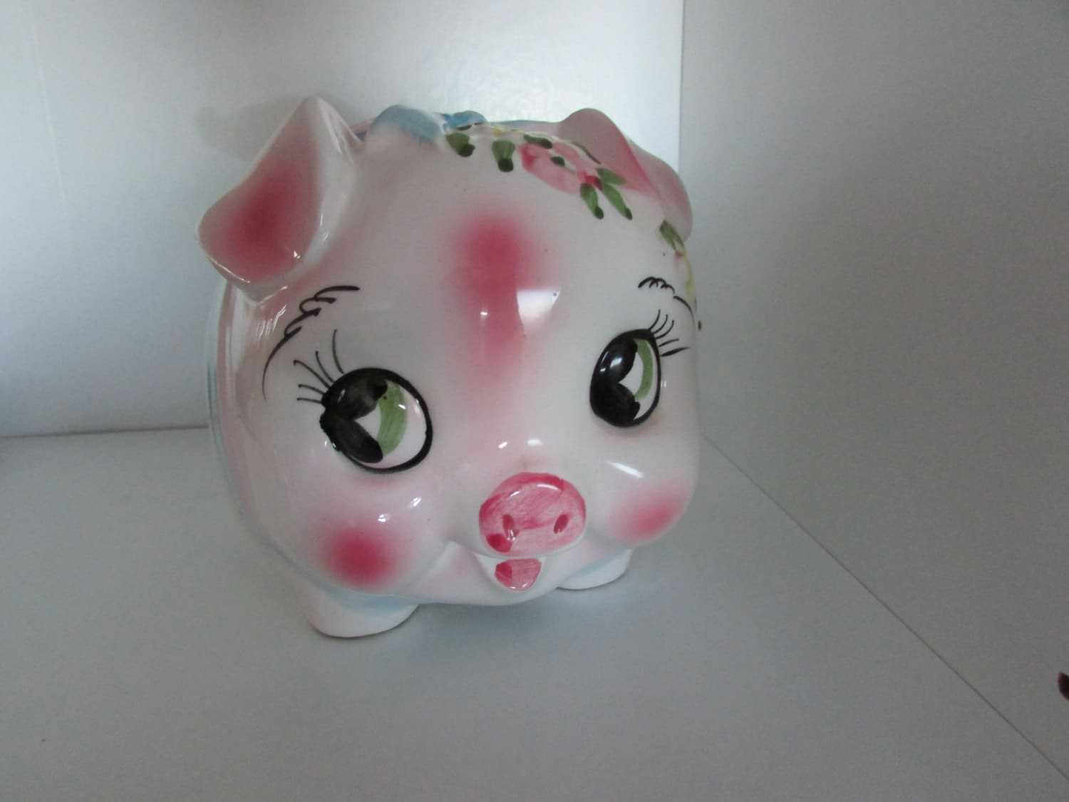 Reserved for becky pink piggy bank with flowers by friedasfinds - Jumbo piggy banks for adults ...