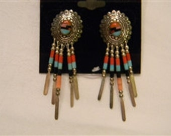 """Made by Hand Vintage Dangling Sterling Silver 925 Inlaid Native American Dangling Post Earrings 2"""" Long #2538"""