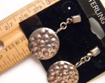 "Fun Fashion Stylish 925 Sterling Silver Dangling Circle Post Earrings 1.25"" Long #743"