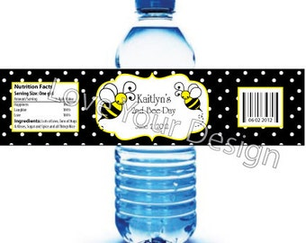 Bumble Bee Water Bottle Labels YOU PRINT