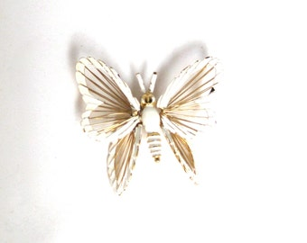 Vintage Monet Gold and White Butterfly Brooch
